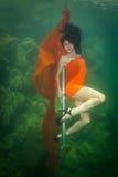 La muchacha con un violín debajo del agua Fotografía de archivo libre de regalías