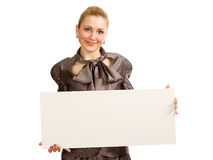 La muchacha con una hoja limpia del papel Fotos de archivo