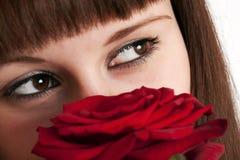 La muchacha con una rosa en un fondo blanco Foto de archivo