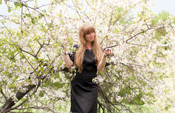 La muchacha contra un árbol floreciente Imagen de archivo