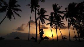 La muchacha corre alrededor por la mañana en las palmeras en el amanecer almacen de video