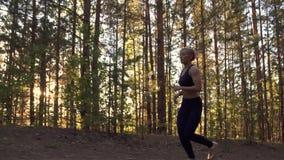 La muchacha corre ligeramente cuesta arriba Deportista hermosa en el entrenamiento en el bosque en la puesta del sol metrajes
