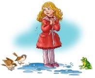 La muchacha cuesta en un agua y llora. Fotografía de archivo