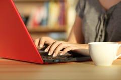 La muchacha da la escritura en un ordenador portátil rojo en casa Foto de archivo