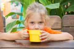 La muchacha de cuatro años bebe una bebida de la taza y mira en el marco Fotografía de archivo