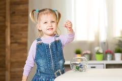 La muchacha de dos años de edad juega en el cuarto Imágenes de archivo libres de regalías