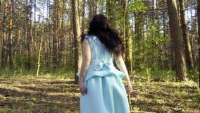 La muchacha de la elegancia en vestido azul camina en el bosque, cuento de hadas blanco como la nieve almacen de video