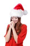La muchacha de la belleza de la Navidad hace un deseo Fotografía de archivo libre de regalías