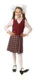 La muchacha de la cereza en un uniforme escolar Imagen de archivo