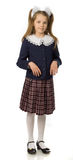 La muchacha de la cereza en un uniforme escolar Imagenes de archivo