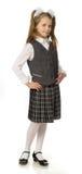 La muchacha de la cereza en un uniforme escolar Imágenes de archivo libres de regalías