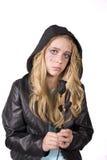La muchacha de la expresión triste con se levantó Fotos de archivo libres de regalías