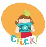 La muchacha de la historieta toma un cuadro libre illustration
