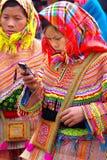 La muchacha de la mujer joven con un teléfono móvil fotografía de archivo