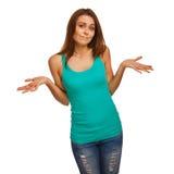 La muchacha de la mujer lanza para arriba sus manos en duda aisladas Fotografía de archivo