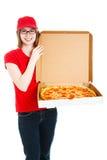 La muchacha de la pizza hace salida Imágenes de archivo libres de regalías