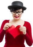 La muchacha de la tarjeta del día de San Valentín Fotos de archivo