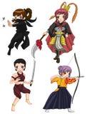 La muchacha de los guerreros de la diversa cultura fijó 3 ilustración del vector
