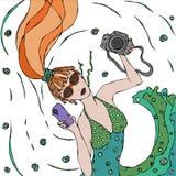 La muchacha de moda hermosa linda del pelirrojo en vestido verde hace la opinión del selfie arriba ilustración del vector