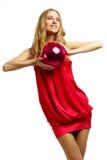 La muchacha de un disco una esfera Fotografía de archivo libre de regalías