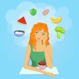 La muchacha decide comenzar una dieta Want come la comida sana Imágenes de archivo libres de regalías