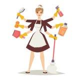 La muchacha del ama de casa y el icono casero del equipo de la limpieza en estilo plano vector el ejemplo Fotografía de archivo