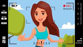 La muchacha del Blogger registra el vector video del blog Concepto de Vlog Internet en línea de la mujer que fluye el vídeo El ll Foto de archivo libre de regalías