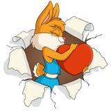 La muchacha del conejo lleva a cabo el corazón del amor en agujero stock de ilustración