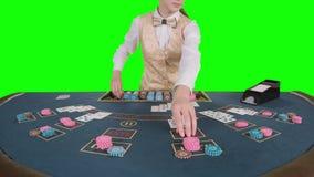La muchacha del crupié del casino que se coloca en la tabla de las mierdas toma las tarjetas del portatarjetas para el juego en p almacen de video