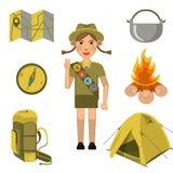 La muchacha del explorador que mostraba la muestra de la mano del honor y los equipos fijaron cerca libre illustration