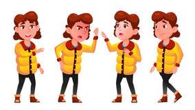 La muchacha del invierno plantea vector determinado Alumno holidays Para la tarjeta, anuncio, saludando diseño Historieta aislada stock de ilustración