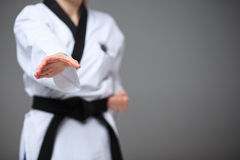 La muchacha del karate con la correa negra Imagen de archivo