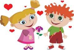 La muchacha del muchacho embroma al cabrito en el amor adorable Imagenes de archivo