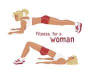 La muchacha del vector hace los ejercicios del tablón, mujer resuelve los músculos abdominales libre illustration