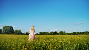 La muchacha despreocupada en un vestido rosado corre a través del campo con las flores amarillas Tiro de la cámara lenta de Stead almacen de video