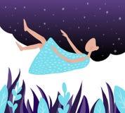 la muchacha duerme en una nube en el cielo azul ilustración del vector