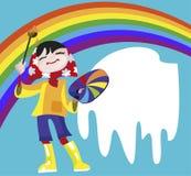 La muchacha - el artista drena un arco iris ilustración del vector