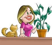 La muchacha, el gato y la planta Fotografía de archivo