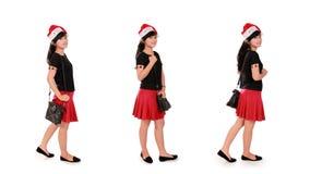 La muchacha elegante de la Navidad plantea la colección sobre blanco imagen de archivo libre de regalías