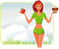La muchacha elige entre una manzana y una torta Fotografía de archivo libre de regalías