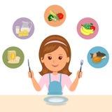 La muchacha elige lo que ella come de los grupos de alimentos: farináceo, lechería, verduras, frutas y carne Fotografía de archivo libre de regalías