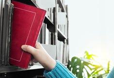 La muchacha elige un libro de la biblioteca Fotos de archivo