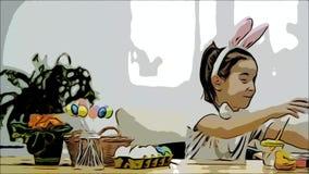 La muchacha enérgica, linda se está divirtiendo que pinta con el conejito de pascua, que tiene los mismos oídos, como ella tiene  almacen de metraje de vídeo