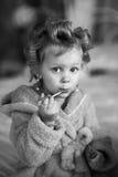 La muchacha en bigudíes de pelo y una bata Imagen de archivo