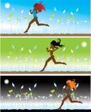 La muchacha en bikiní se ejecuta en un g ilustración del vector