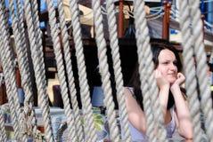 La muchacha en café Imagen de archivo libre de regalías