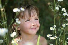 La muchacha en camomiles Imagenes de archivo