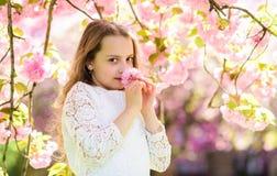 La muchacha en la cara sonriente que se coloca cerca de Sakura florece, defocused Concepto del perfume y de la fragancia Muchacha foto de archivo