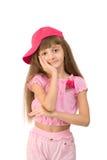 La muchacha en color de rosa Imagenes de archivo