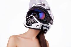 La muchacha en el casco Imagen de archivo libre de regalías